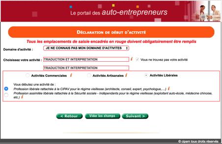 Screenshot du portail des auto-entrepreneur